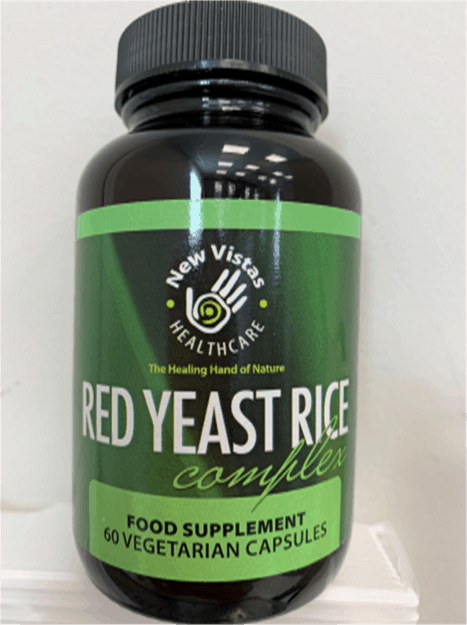 jar of Red Yeast Rice Complex food supplement capsules